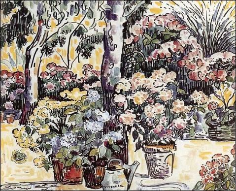 Chez le fleuriste - par un peintre paysagiste français qui, avec Seurat et Pissarro, va former le groupe des « impressionnistes dits scientifiques ». (1863-1935)