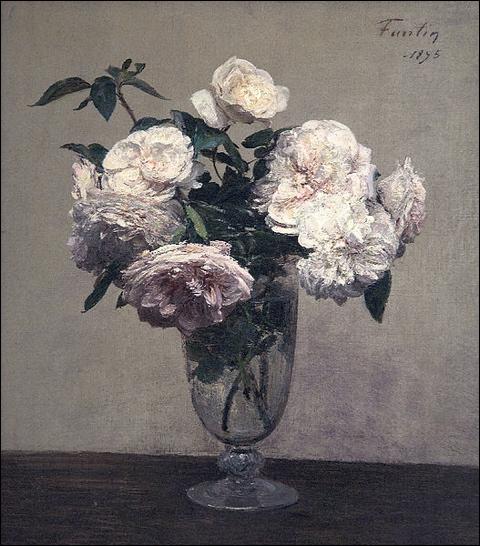 Vase de roses, 1895 par  Le  peintre français de natures mortes du XIXe siècle qui a aussi réalisé des portraits et portraits de groupe (1836-1904)