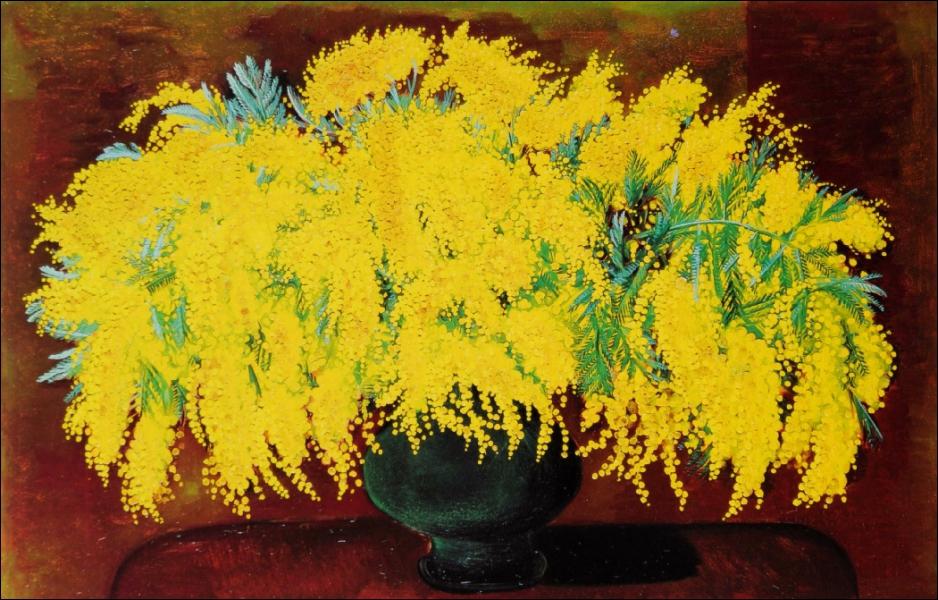 Mimosas, 1938 - par un peintre franco-polonais, ami de Modigliani, et comme lui, acteur de la communauté artistique de Montparnasse (1891-1953).