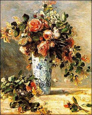 Roses et Jasmin dans un Vase de Delft (1880) - par le maitre du portrait impressonniste.