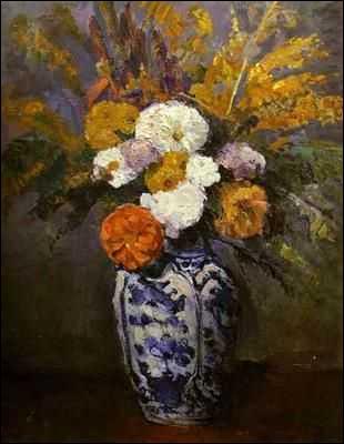 Vase de dahlias - par le précurseur du cubisme (1839-1906).