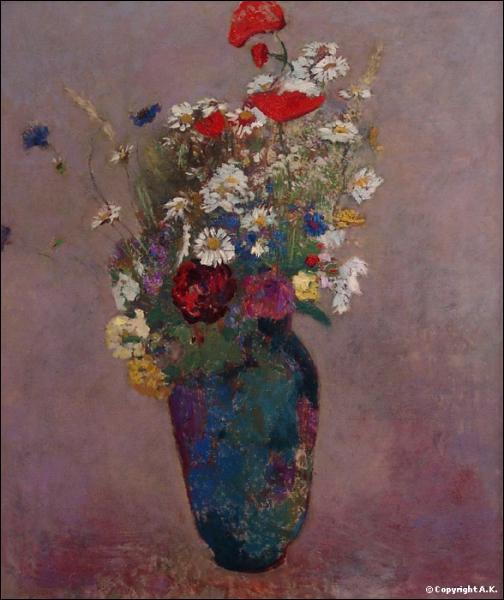 Grand bouquet de fleurs des champs - par un peintre symboliste français (1840-1916).