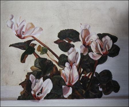 Cyclamens - par l'un des plus grands peintres figuratifs contemporains (britannique, 1922-2011)