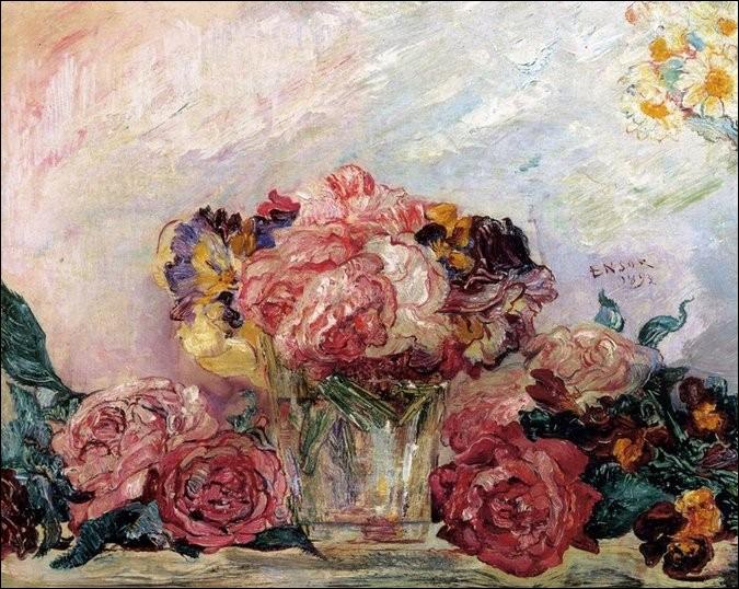 Roses - par un expressionniste belge très marqué par les masques de carnaval que vendait son père (1860-1949)