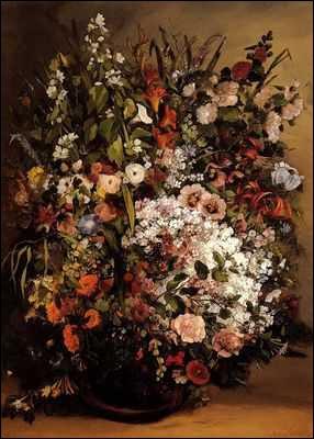 Vase de fleurs - par un peintre réaliste français dont certaines oeuvres firent scandale (1819-1877)