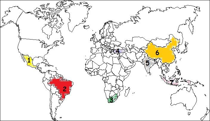A quel pays émergent correspond le pays 6 ?