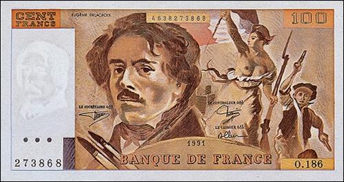 Célèbre notamment pour son tableau   La Liberté guidant le peuple  , on retrouve ce peintre sur des billets de 100 francs. Qui est-il ?