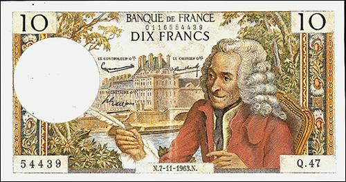 Quel est le nom de ce philosophe que l'on voit sur ce billet de la Banque de France ?