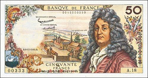 Célèbre dramaturge français du XVIIème siècle, ce personnage est représenté sur certains billets de 50 francs. Connaissez-vous son nom ?