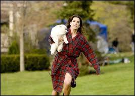 Cette scène curieuse présente Sandra Bullock avec dans les bras un chiot qu'elle vient de récupérer après qu'il ait été emporté par un rapace... Il s'agit de la comédie avec Ryan Reynolds. .