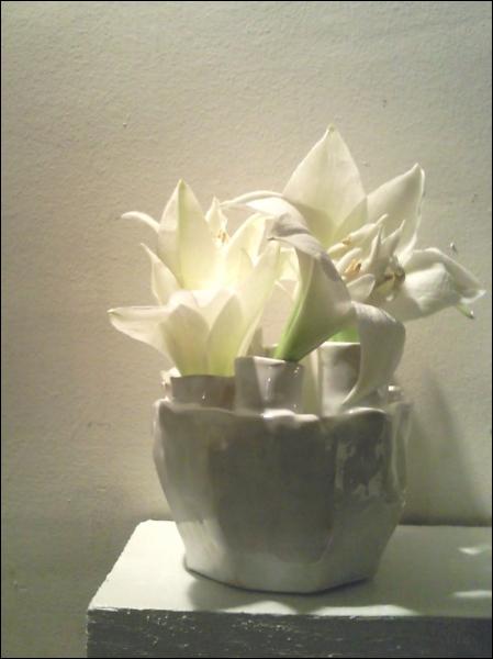Toute l'originalité tient du vase, et du choix délibéré de se passer des tiges pour ne conserver que les fleurs. Quelles sont ces fleurs ?