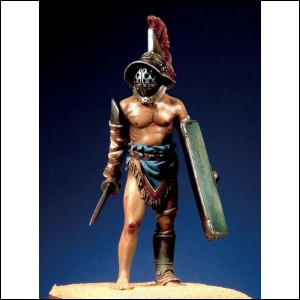 Le ''mirmillon'' était muni d'un bouclier, d'une courte épée et d'un casque orné d'un...