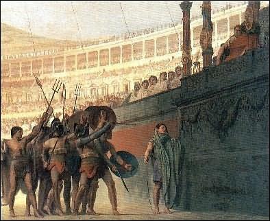 D'après une idée reçue, les gladiateurs s'adressaient à l'empereur en disant ''Ave Cesar, morituri te salutant'' qu'on peut traduire par ''Salut César ------------------- ! '