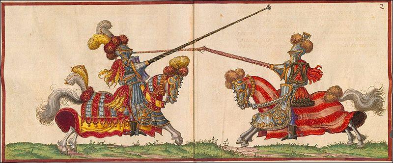 Quel est ce jeu d'origine médiévale entre deux chevaliers portant des lances se chargeant face à face ?