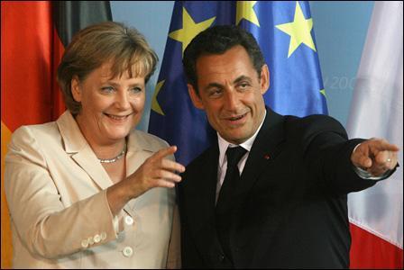 Vers quel espace tente de s'associer l'U.E. grace à un projet de coopération initié par Nicolas Sarkozy en 2007. (photo : Angela Merkel la chancellière allemande et Nicolas Sarkozy, président français)