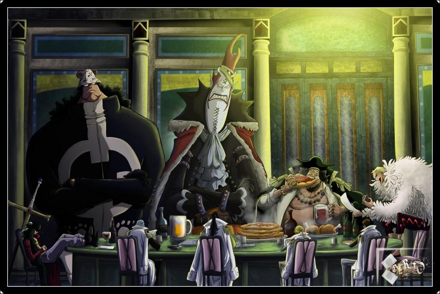Combien y a-t-il eu de shichibukai (ou d'ex shichibukai) présents dans la prison depuis l'arrivée de Luffy ?