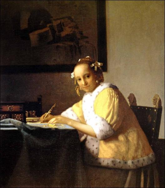 Jeune femme écrivant une lettre, 1665