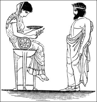 L'oracle de Delphes transmet aux prêtres les paroles du dieu...