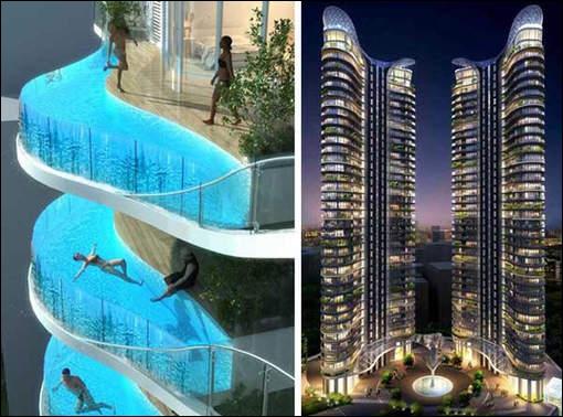 Cet immeuble, projet de l'architecte James Law de Hong-Kong est actuellement en construction, bien que des alertes aient été lancées sur la dangerosité de ces piscines en façade. Pourquoi ?