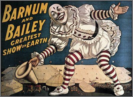 En 1881, Barnum s'associe à Bailey pour créer un cirque immense où on pouvait voir des numéros simultanément sur ---------------.