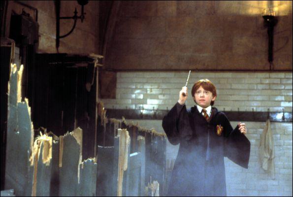 Sur qui Ron pointe-t-il sa baguette ?