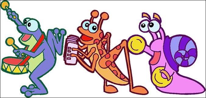 Nous sommes un trio composé d'une sauterelle avec un accordéon, une grenouille avec un tambour et un escargot avec des cymbales. Qui sommes-nous ?