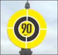 Qu'est-ce qui va détruire ce cercle jaune marqué par un  nonante  ?