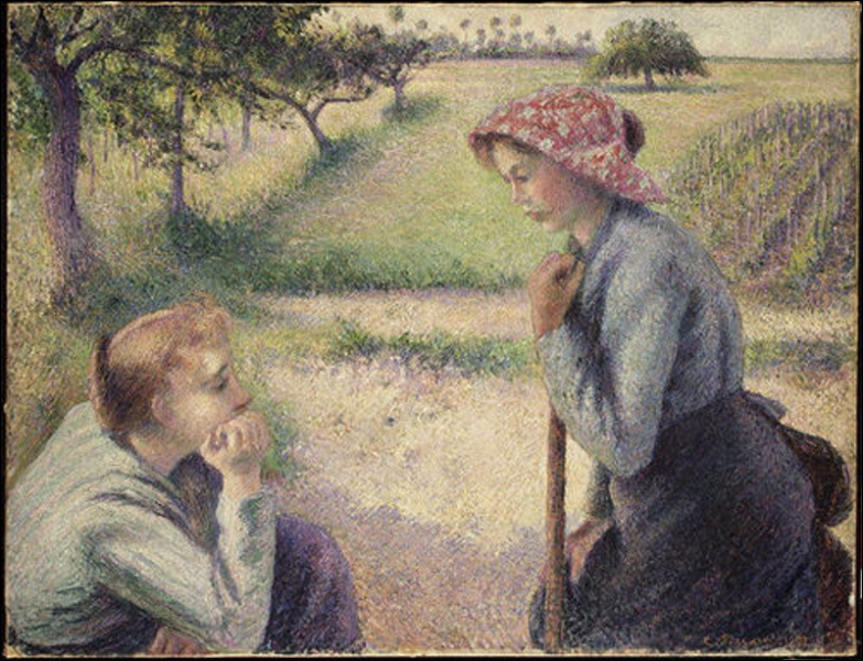 La conversation (two young peasant women)
