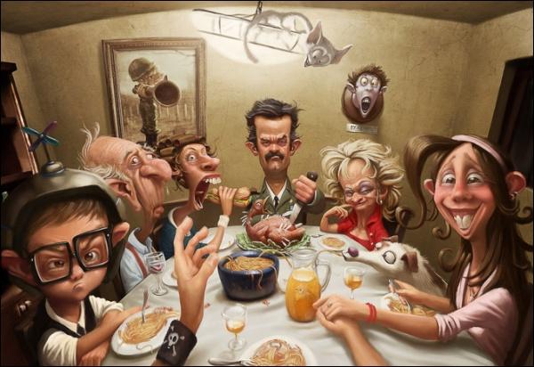 Sous le regard de Morticia et de Gomez, toute la famille est à table !