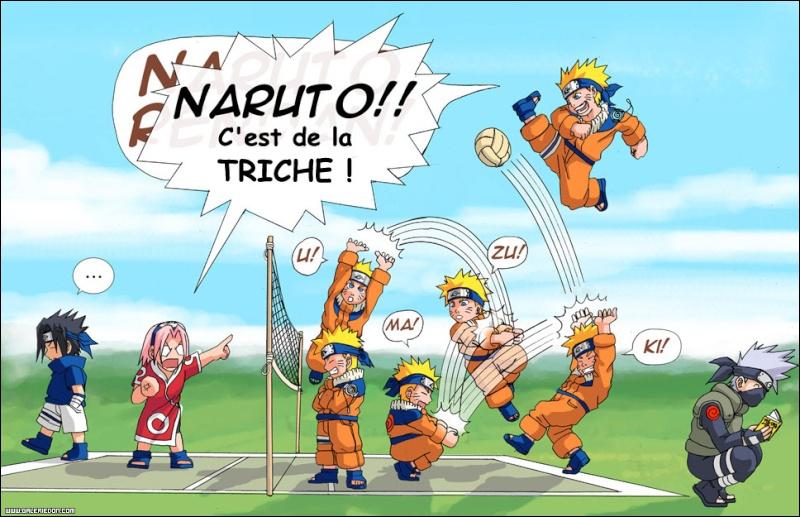 Sur cette image, quelle idée Naruto a-t-il eu pour gagner au volley-ball ?