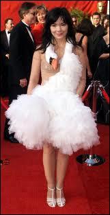 Est-ce un ratage ou une création artistique ? La robe-cygne a fait sensation portée par ?