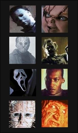 Comment s'appellent les films d'horreur qui sont avec ces tueurs en série ? (de gauche à droite).