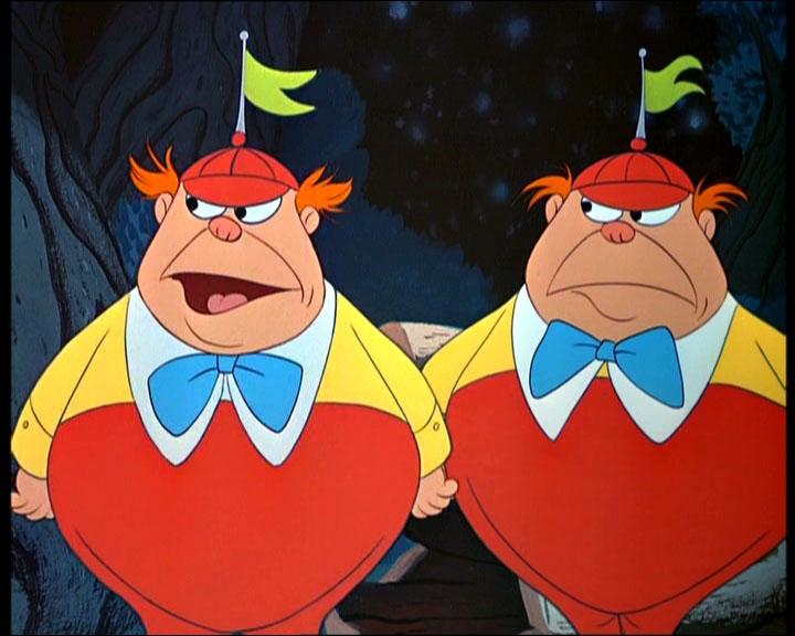 Comment s'appellent les gros jumeaux dans 'Alice au pays des merveilles' ?