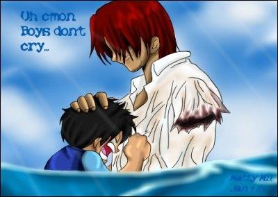 Quel est le nom du brigand qui essaye de noyer Luffy étant petit ?