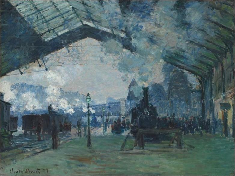 Arrivée du train de Normandie, gare St Lazare , 1877 :