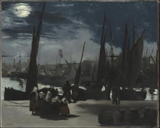Clair de Lune sur le port de Boulogne , 1869 :