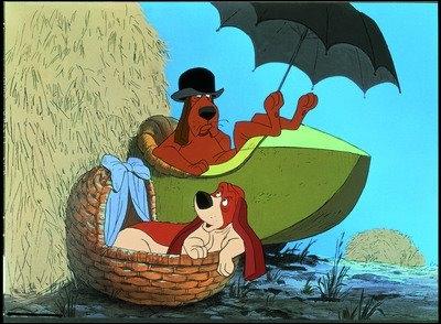 Dans ''Les Aristochats'' (1970), vous vous rappelez sûrement la poursuite délirante entre l'infâme Edgar le majordome sur son side-car et les deux chiens de ferme -------------.