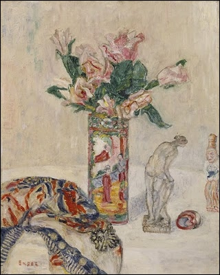 Nature morte avec un vase de fleurs, par un peintre expressionniste