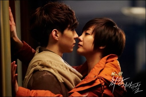 Dans quelles circonstances les deux personnages principaux s'embrassent-ils pour la première fois ?