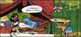 Que peut bien contenir ce paquet que ce personnage remet à la reine égyptienne Cléopâtre ?