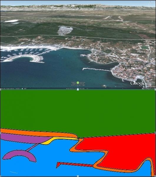 Selon le croquis, à quelle couleur correspond la marina ?