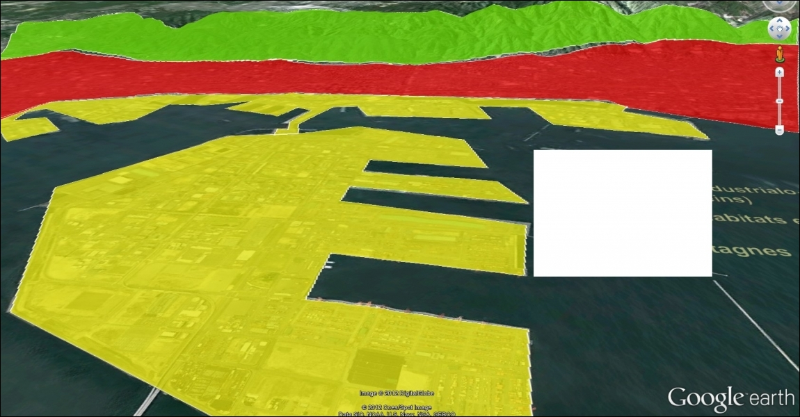 Selon le croquis, à quelle couleur correspond le terre-plein ?