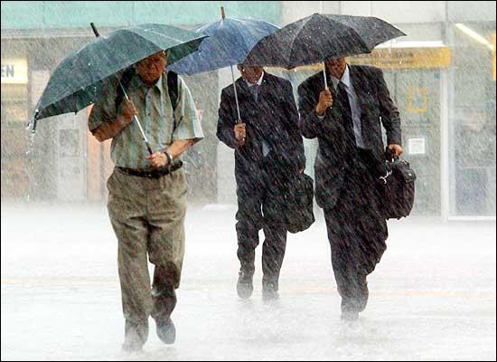 Quelle pluie ! M�me nos parapluies ont du mal � nous garder au sec. Il fait vraiment...