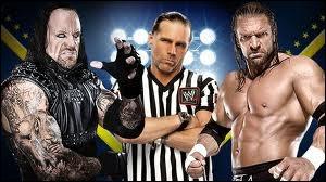 Quel est le vainqueur entre Undertaker et Triple H avec comme Special Guest Referee Shawn Michaels dans un Hell In a Cell match ?