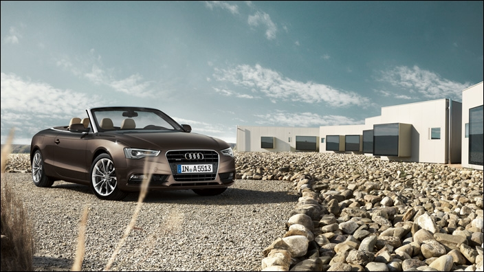 Quel est le modèle d'Audi cabriolet présenté sur cette image ?