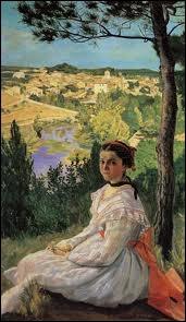 Quel peintre impressionniste né à Montpellier en 1841 est l'auteur de la toile  Vue de village  ?