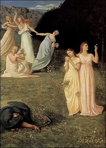 Quel peintre symboliste né à Lyon en 1824 est l'auteur de la toile  La mort et les jeunes filles  ?