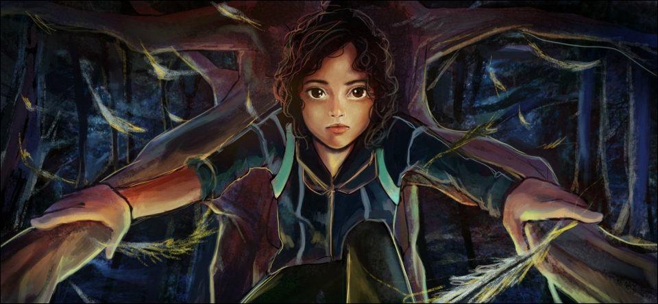 Que fait Rue une fois que Katniss voit qu'elle l'a regarde ? (tome 1)