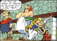 On voit cette scène dans l'album  Astérix et Falbala .