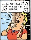 Dans Faust, l'opéra de Gounod, que fait Marguerite quand elle se  voit si belle en ce miroir  ? Elle...